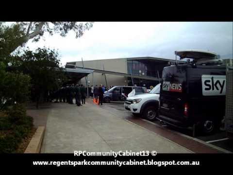 Julia Gillard arriving at Regents Park Christian School for Community Cabinet meeting