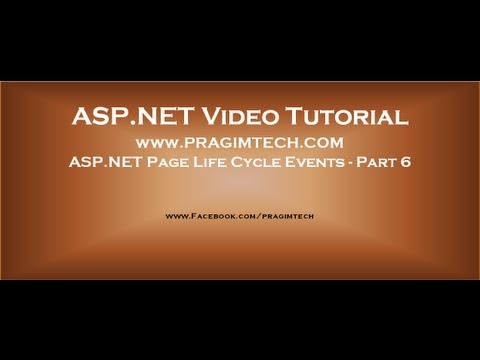 Asp.net Page Life Cycle Events   Part 6 video