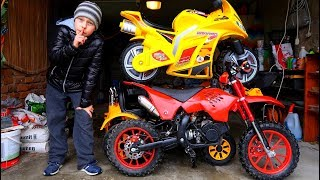Funny Video For Children Baby Ride on Dirt Cross Bike Power Wheel Pocket Bike Magic Hide and Seek