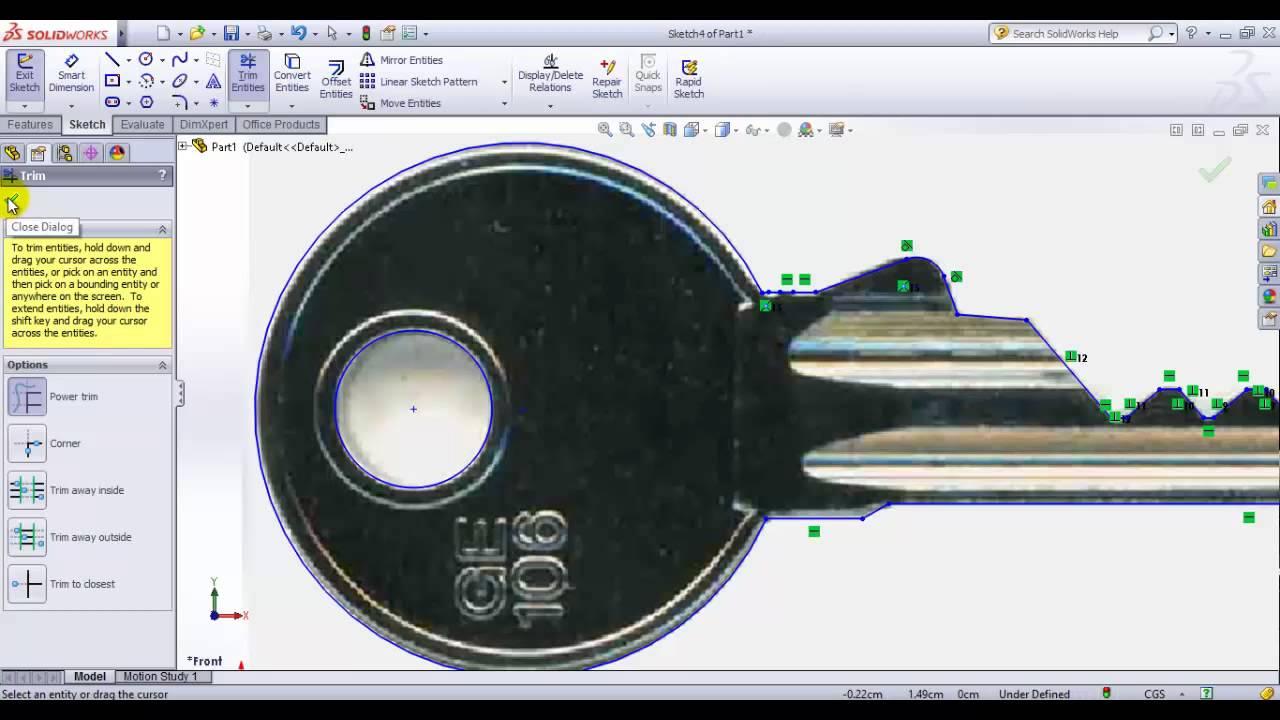 Como dibujar una llave en solidworks mediante una imagen for Como desarmar una llave de ducha