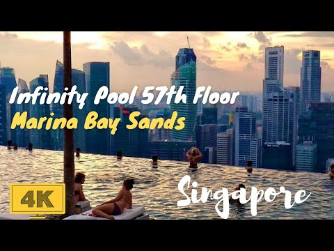 Singapore Marina Bay Sands Infinity Pool in 4K - World's Highest Pool on 55th Floor