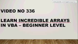 Learn Excel - Video 336- VBA Arrays - Basic Level 1
