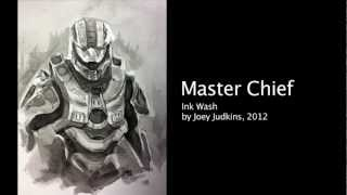 Halo 4 (Master Chief) - Ink Wash Drawing