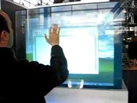 Glass Touch Screen Cebit 2006 Youtube