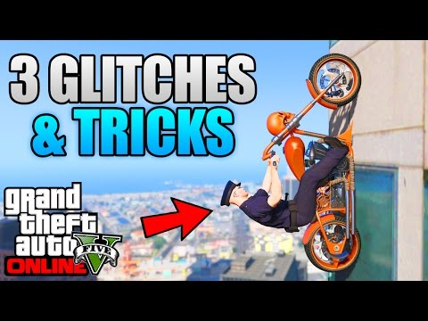 GTA 5 Online - 3 NEW GLITCHES & TRICKS! (Drive Up Walls, Swing Glitch & Secret Location)