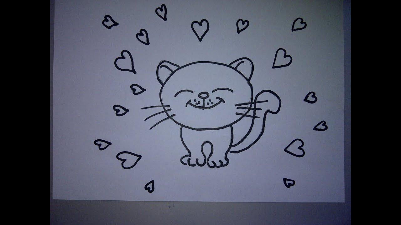 Zeichnen lernen für Anfänger. Ein Kätzchen mit Herz zum ...