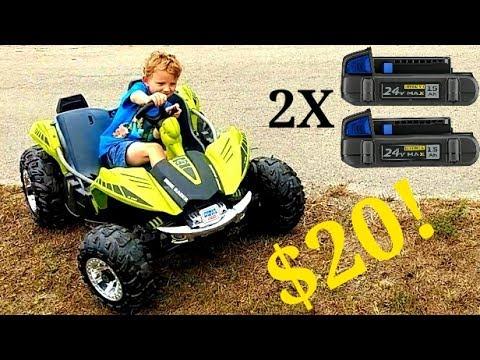 24 Volt Li-Ion Power Wheels Dune Racer 18650 Cell Mod With Lowe's Kobalt $10 24V MAX Battery Pack