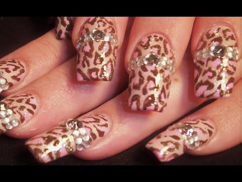 Soft Pink Leopard & Diamond Nail Art
