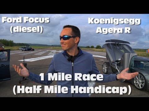 Koenigsegg Agera R vs Ford Focus 1 Mile Drag Race (with half mile head start)