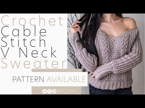 Crochet Long Sleeve Cable Stitch V Neck Sweater | Pattern & Tutorial DIY