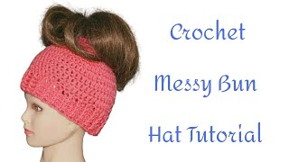 Crochet Ponytail Holder Messy Bun Hat Tutorial