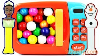 PEZ Candy Toys and Bubble Gumballs Microwave Kitchen Playset Learn Colors Baby Finger Song for Kids