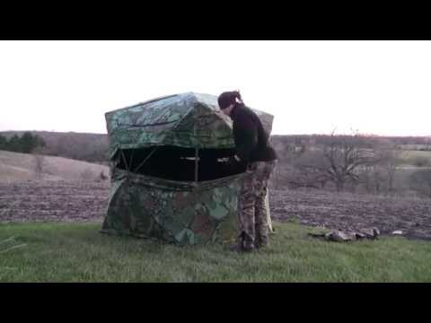 How to set up a hub-style ground blind   TURKEY HUNTING