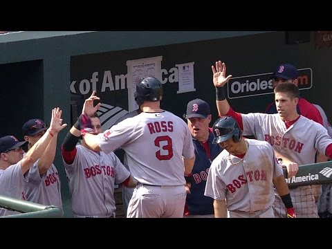 BOS@BAL: Ross skies a solo homer to center field