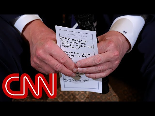 Trumps note card for shooting discussion I hear you