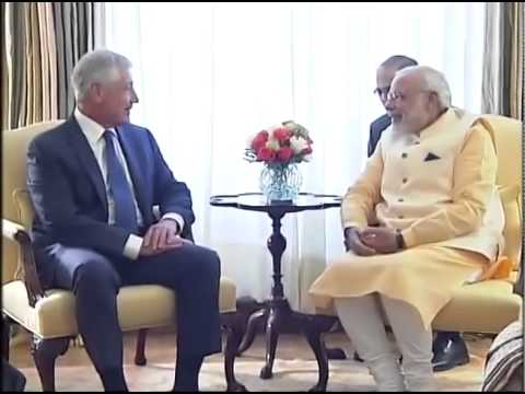 PM Modi meets US Secretary of Defence Chuck Hagel in Washington