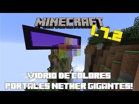 Minecraft 1.7.2   Vidrio de Colores. Portales Nether Gigantes Y Comandos Nuevos! [Minecraft Review]