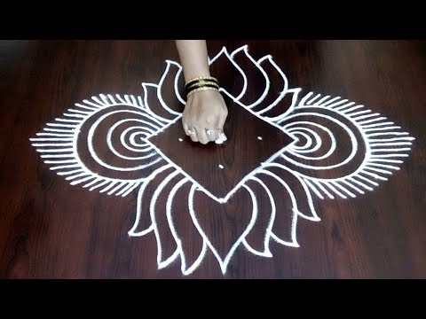 Beautiful Lotus Flower Design With 5 x 1||  Lotus Design With Simple Lines Design || Fashion World