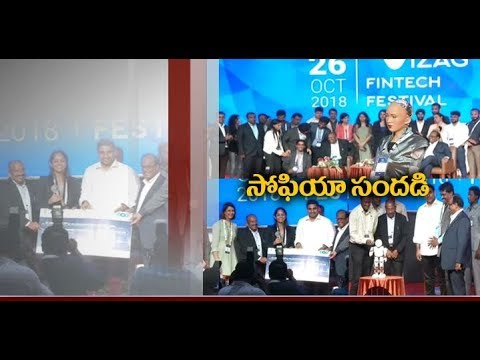 Minister Nara Lokesh Interacts with Robot Sophia | at Vizag Fintech Fest