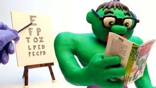 Hulk needs glasses Stop Motion Play Doh Cartoon video for kids