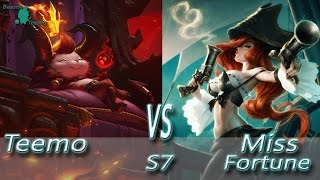 League of Legends - Devil Teemo vs Miss Fortune - S7 Ranked Gameplay (Season 7) AP MF