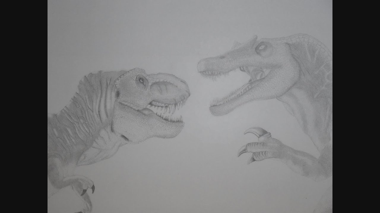 Spinosaurus vs t Rex Drawing Jurassic Park T-rex vs
