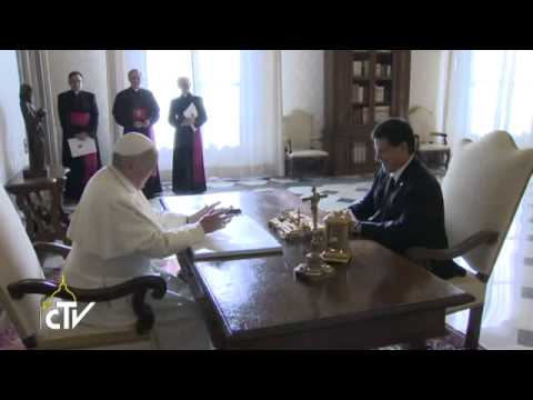 Pope Francis meets the President of Paraguay