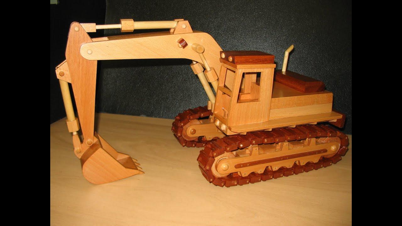 Wooden Model of an Excavator - YouTube