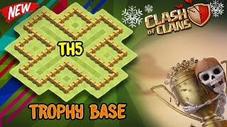 "Clash of Clans | New [2018] ""UNDEFEATED"" Town Hall 5 Trophy Base (Th5) Defense Layout Strategy"