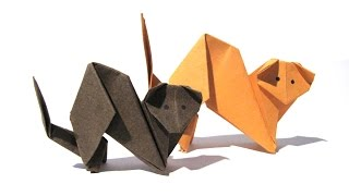 Halloween Origami Cat - Easy Origami Tutorial - How to make an origami cat/ferret