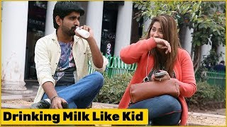 Stammerer Kid Drinking Milk in Nipple Bottle Prank   The HunGama Films
