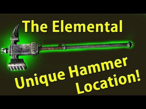 Secret Rare weapon Skyrim Elementel Warhammer Location Guide Fire/Ice/Sparks