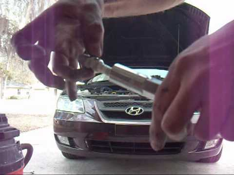 2006 Hyundai Sonata GLS V6 DIY NGK spark plug and PCV replacement