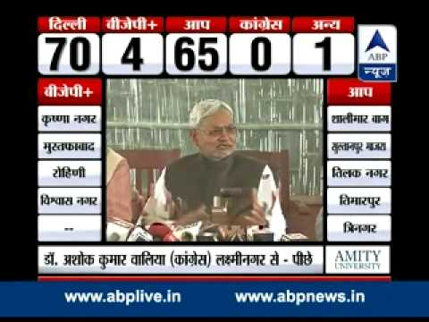 Nitish Kumar congratulates Arvind Kejriwal and AAP for Delhi win