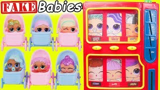 FAKE LOL Surprise Dolls Vending Machine + Lil Sisters in Baby Strollers