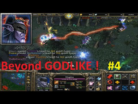 DotA 6.83d - Magina, Anti Mage Beyond GODLIKE ! #4  (HARD GAME)