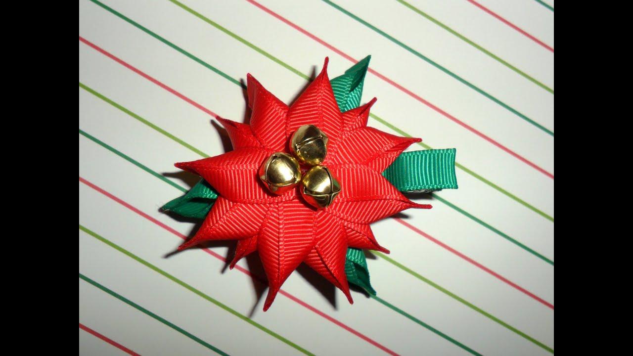 Poinsettia ribbon sculpture christmas holiday hair clip bow diy free