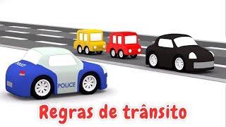 4 carros coloridos. Regras de trânsito. Animação infantil.