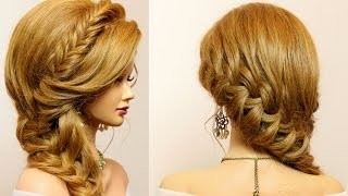 Party hairstyle for long medium hair. Braids tutorial
