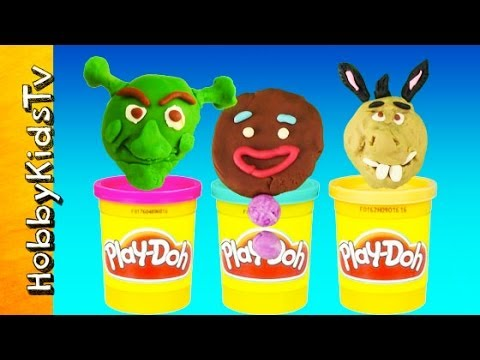 Shrek Surprise Toy Eggs! [Play-Doh] Donkey, Gingerbread Man, Dreamworks