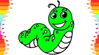 How to Draw Caterpillar🐛Art Drawing & Coloring For Kids. Coloring Pages For Children. Learn Drawing