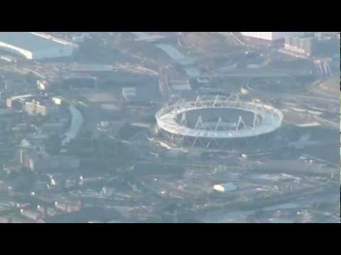 Flying over London into Heathrow on British Airways flight HD