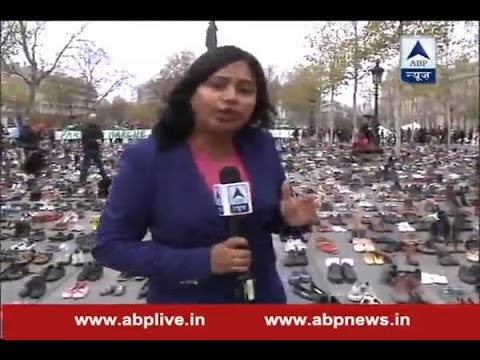 Silent protest in France by the means of shoes before the climate change conference