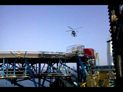 Helicopter landing on Offshore Jackup Rig, QATAR