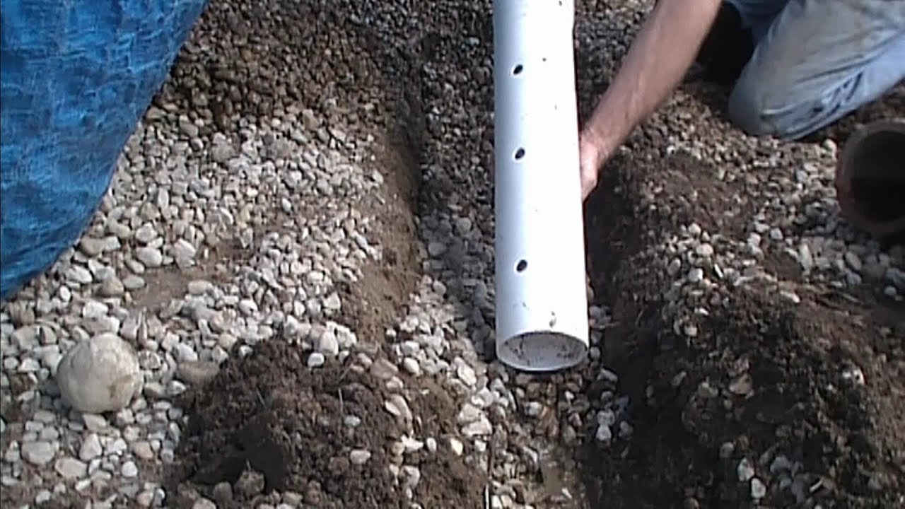 How to install perforated pipe french drain for do it for French trench drain
