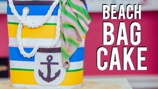 How To Make a BEACH BAG CAKE! Chocolate & Vanilla Cake STUFFED with Buttercream!