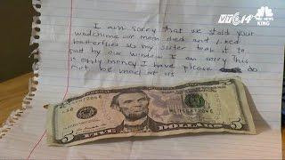 (VTC14)_Tên trộm nhí gây xúc động vì gửi thư và đền tiền cho khổ chủ