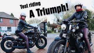 Test riding a Triumph Bobber | All About Holly