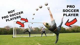 CHALLENGING PRO SOCCER PLAYER TO TRICK SHOT BATTLE!