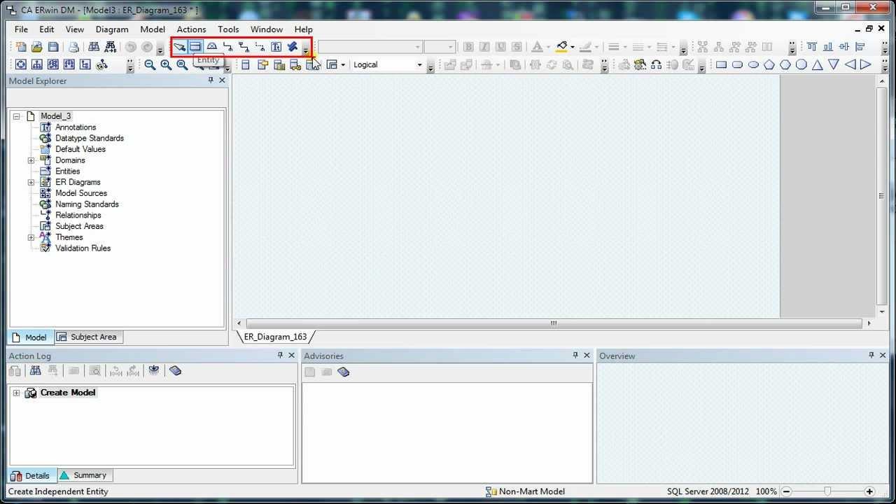002 erwin data modeler workspace